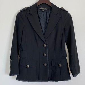 ELIZABETH AND JAMES Buttoned Military Blazer Black